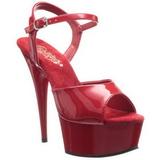 Rouge 15 cm Pleaser DELIGHT-609 Talons Hauts Plateforme