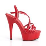 Rouge 15 cm Pleaser DELIGHT-613 Sandales femme à talon
