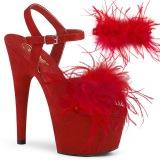 Rouge 18 cm ADORE-709F sandales à talons hauts et plumes pole dance