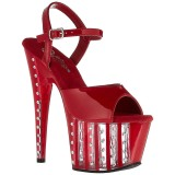 Rouge 18 cm ADORE-709VLRS chaussures à talons plateforme strass