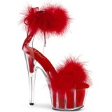 Rouge 18 cm ADORE-724F sandales à talons hauts et plumes pole dance