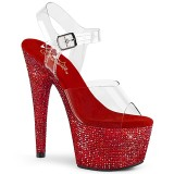 Rouge 18 cm BEJEWELED-708DM chaussures à talons plateforme strass