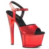 Rouge 18 cm SKY-309MT Plateforme Sandales Acrylique Hauts Talons