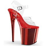 Rouge 20 cm FLAMINGO-808 Chrome Plateforme Talons Hauts