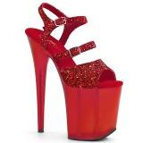 Rouge 20 cm FLAMINGO-874 etincelle sandales avec plateforme