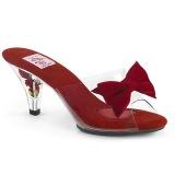 Rouge 7,5 cm BELLE-301BOW Pinup mules femmes avec nœud papillon