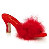 Rouge 7,5 cm FLAPPER-01F plumes de marabout Mules Chaussures
