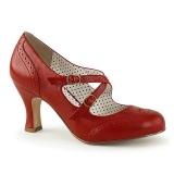 Rouge 7,5 cm FLAPPER-35 Pinup escarpins femmes à talons bas