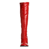 Rouge 7,5 cm GOGO-300 disco bottes à talon carré vernis années 70