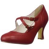 Rouge 7,5 cm retro vintage FLAPPER-35 Pinup escarpins femmes à talons bas