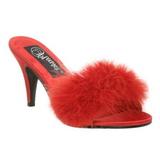 Rouge 8 cm AMOUR-03 plumes de marabout Mules Chaussures