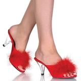 Rouge 8 cm BELLE-301F plumes de marabout Mules Chaussures