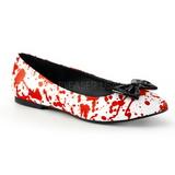 Rouge Blanc VAIL-20BL chaussures ballerines gothique talons plates