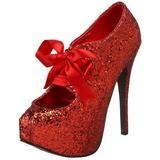 Rouge Etincelle 14,5 cm Burlesque TEEZE-10G Platform Escarpins Chaussures