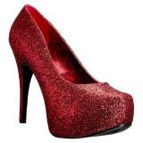 Rouge Glitter 14,5 cm Burlesque TEEZE-06GW pieds larges escarpins pour homme