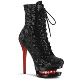 Rouge Noir 15,5 cm BLONDIE-R-1020 bottines à plateforme lacets talon en paillettes