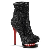 Rouge Noir Paillettes 15,5 cm BLONDIE-R-1009 pleaser bottines à plateforme