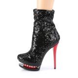 Rouge Noir Paillettes 15,5 cm BLONDIE-R-1009 pleaser bottines à plateforme