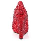Rouge Pierre Cristal 13,5 cm ISABELLE-18 Escarpins Talons Compensées