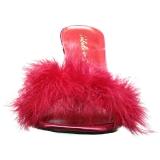 Rouge Plumes 10 cm CLASSIQUE-01F Chaussures Mules pour Hommes