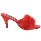 Rouge Plumes 8 cm AMOUR-03 Chaussures Mules pour Hommes