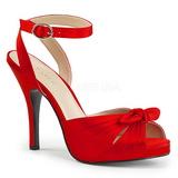 Rouge Satin 12,5 cm EVE-01 grande taille sandales femmes