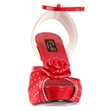 Rouge Satin 12 cm PINUP retro vintage BETTIE-06 Plateforme Haut Talon