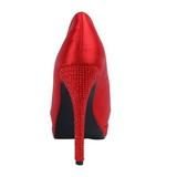 Rouge Satin 13,5 cm BELLA-12R Strass Plateforme Escarpins Hauts Talons