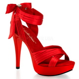 Rouge Satin 13 cm COCKTAIL-568 Sandales Talons Hauts