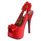 Rouge Satin 14,5 cm Burlesque TEEZE-56 Sandales Talons Hauts