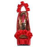 Rouge Satin 14,5 cm TEEZE-56 Sandales Talons Hauts