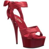 Rouge Satin 15 cm DELIGHT-668 Sandales de Soirée a Talon