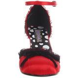 Rouge Satin 8 cm RETRO-03 Escarpins Chaussures Femme