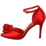 Rouge Satin 9,5 cm ROSA-02 Sandales Femme a Talon