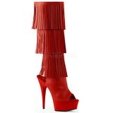 Rouge Similicuir 15 cm DELIGHT-2019-3 bottes a frangees pour femmes a talon