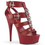 Rouge Similicuir 15 cm DELIGHT-658 chaussures pleaser talons hauts