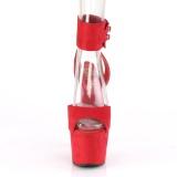 Rouge Similicuir 18 cm ADORE-791FS talon haut avec bande de cheville