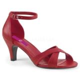 Rouge Similicuir 7,5 cm DIVINE-435 grande taille sandales femmes