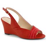 Rouge Similicuir 7,5 cm KIMBERLY-01SP grande taille sandales femmes