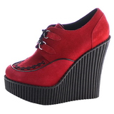 Rouge Similicuir CREEPER-302 chaussures creepers compensées