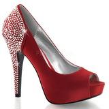 Rouge Strass 13 cm LOLITA-08 Chaussures Escarpins de Soirée