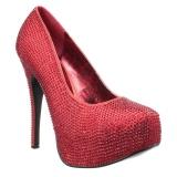 Rouge Strass 14,5 cm Burlesque TEEZE-06RW pieds larges escarpins pour homme