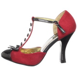 Rouge Suede 10 cm SMITTEN-10 Rockabilly escarpins à talons hauts