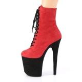 Rouge Suédine 20 cm FLAMINGO-1020FST bottines de striptease