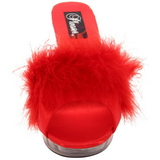 Rouge Transparent 13 cm Fabulicious LIP-101-8 Plateforme Mules Hautes