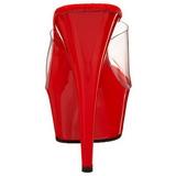 Rouge Transparent 15,5 cm DELIGHT-601 Plateforme Mules Hautes
