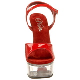 Rouge Transparent 15 cm CAPTIVA-609 Plateforme Haut Talon