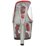 Rouge Transparent 18 cm ADORE-701FL Plateforme Mules Hautes