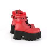 Rouge Vegan 9 cm ASHES-57 bottines à talons épais plateforme lolita