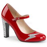 Rouge Verni 10 cm QUEEN-02 grande taille escarpins femmes